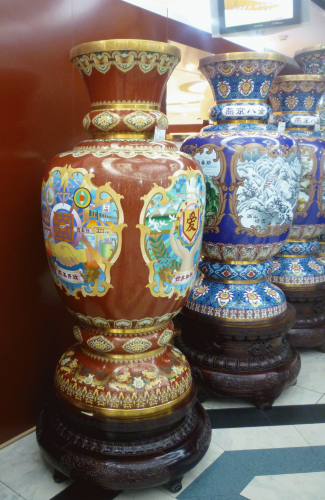 Vases on sale in a department store in Shanghai